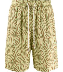 nanushka wood print drawstring shorts - green