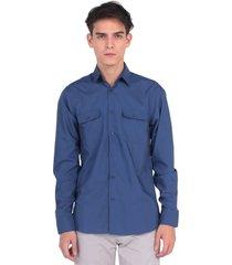 camisa de botones de hombre vestimenta vw172-2104-752 azul