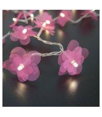 cordáo de luz - luz de fada crie casa organza flower pink