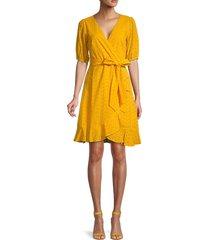 julia jordan women's daffodil eyelet faux-wrap dress - marigold - size 14