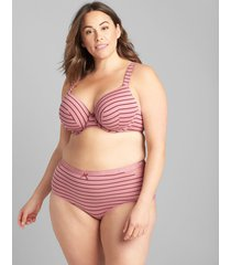 lane bryant women's cotton full brief panty with lace trim 34/36 rose stripes