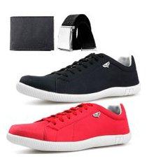 kit 2 pares sapatenis neway sw preto + vermelho + cinto + carteira