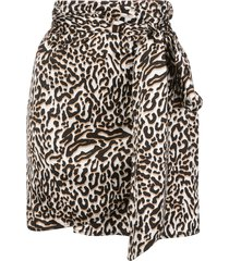 andamane draped leopard-print mini skirt - white