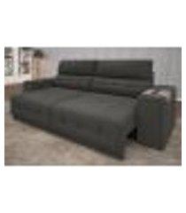 sofa abruzzo 2,00m assento retratil e reclinavel velosuede cinza - netsofas