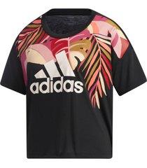 camiseta adidas farm rio tucano feminina gd9013, cor: preto/rosa, tamanho: g - preto - feminino - dafiti