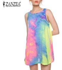 zanzea casual summer gradient slim tank sin mangas sin mangas tops beach mini vestido -multicolor
