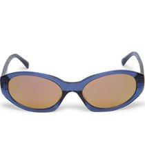 shiny oval sunglasses navy and orange