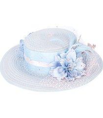 gigi burris millinery floral embellished hat - blue