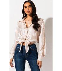 akira living right button down blouse