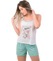 pijama feminino serra e mar modas short doll estampado juliana verde ãgua - verde - feminino - poliã©ster - dafiti