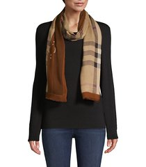 fringed-trim classic check scarf