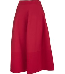 alexander mcqueen midi bell-shaped skirt in red knit