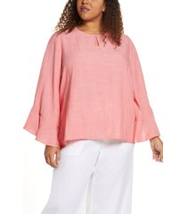 plus size women's single thread ruffle sleeve blouse, size 1x - pink
