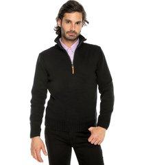 sweater negro 1 preppy m/l c/alto 1/2 cremallera tejido medio