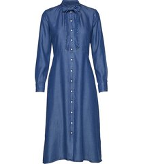 d1. chambray bow shirt dress jurk knielengte blauw gant