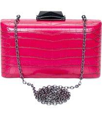 clutch croco com pino - rosa