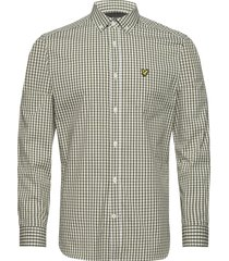 ls slim fit gingham shirt overhemd casual groen lyle & scott