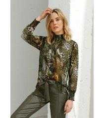 blouse amy vermont olijf::zwart::geel
