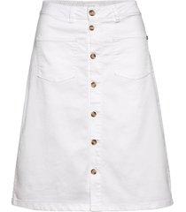 pzditte skirt knälång kjol vit pulz jeans