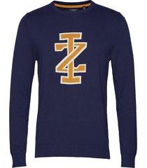 12gg jacquard iz logo crew neck stickad tröja m. rund krage blå izod
