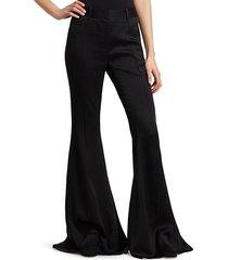 khaite women's stockard satin wide-leg pants - black - size 4