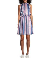 chenault women's striped smocked blouson dress - navy pink - size l