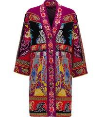 etro long jacquard knit coat