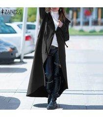 zanzea mujeres otoño invierno cremallera con capucha larga floja de la rebeca outwear coat -gris oscuro