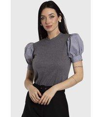 camiseta vértice com manga bufante cinza