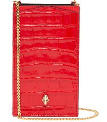skull embellished croc embossed patent leather chain phone case
