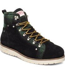 borrel mid laceboot snörade stövlar grön scotch & soda shoes