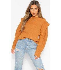 petite knitted cap shoulder long sleeve sweater, rust