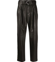p.a.r.o.s.h. leather belted tapered trousers - black