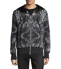 printed cotton zip hoodie
