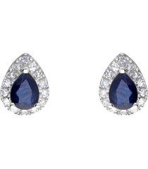 orecchini a lobo a goccia in oro bianco con zaffiri 0,36 ct e diamanti 0,085 ct per donna