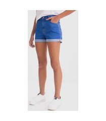 short hot pants com barra dobrada | blue steel | azul | 38