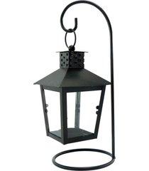 luminária porta vela de metal preta - tricae