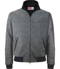 black herringbone printed mid season jacket wool effect
