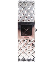 chanel matelassé quilted stainless steel watch black/silver sz: