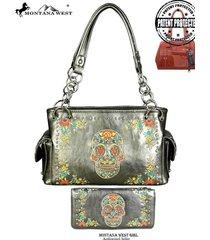 2 colors concealed carry montana west sugar skull purse bag + wallet set
