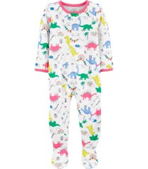 carter's baby girl 1-piece dinosaur poly footie pjs