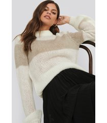 na-kd trend balloon sleeve striped knitted sweater - multicolor