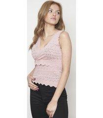 blusa cruzado sin mangas rosada 609 seisceronueve