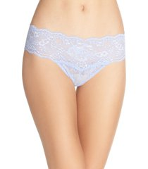 women's hanky panky american beauty rose lace thong, size small - blue