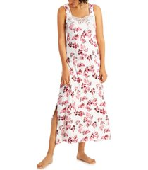 charter club petite lace-trim sleeveless maxi nightgown, created for macy's