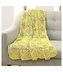 crocheted cotton throw, 'buttercup charm' (india)