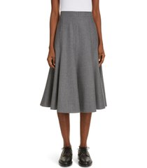women's thom browne wool flannel flounce skirt, size 12 us - grey