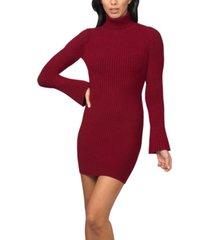 bebe bell-sleeve ribbed sweater dress