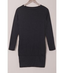 casual solid color long sleeve bodycon t-shirt dress for women