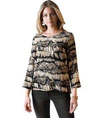 blouse amy vermont zwart::beige::grijs